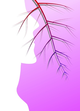 transparent system: The man in a profile and the veins representing blood (an original background on a medical theme)