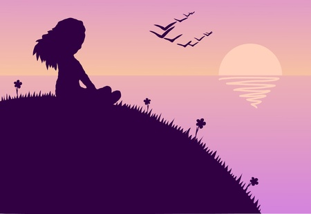 Ilustración de la chica sentada en una colina durante una puesta de sol