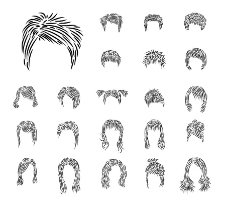 wig: Clip-art from mans and female hairdresses a black brush Illustration
