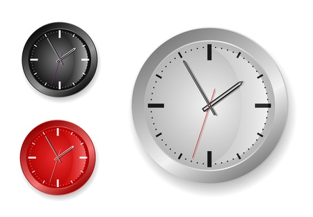 Stylish clock of strict design (black, grey, red) Vector