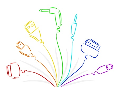 input output: Seven various wires in colours of a rainbow Illustration