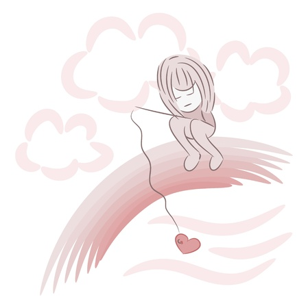 The girl sits on a rainbow with a fishing tackle with heart on a hook Vector