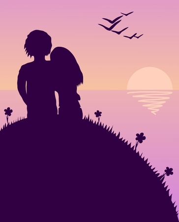 Illustration of the young pair sitting on a hill during a sunset Vector