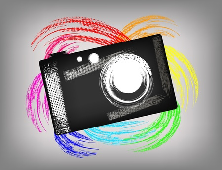 digital paint: The grunge camera on a beautiful background