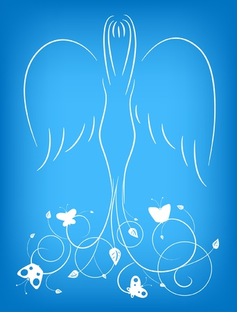 Illustration of an angel with an ornament and butterflies Vector