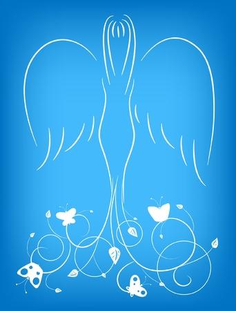 silueta de angel: Ilustraci�n de un �ngel con un adorno y mariposas