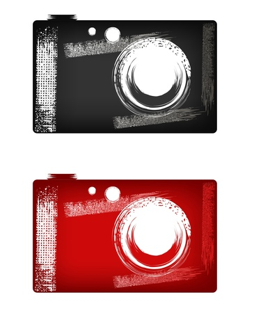 Camera illustration in style grunge (black and red) Stock Vector - 11657523