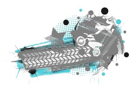 stunts: Motocross poster in stile grunge, con tracce da una ruota Vettoriali