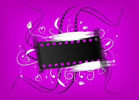 Banner of a film with an ornament on a violet background Vector
