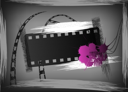 digital paint: Film banner in style grunge. Vector illustration Illustration
