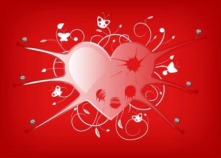 geketend: Illustratie van de bedekt met wonden hart geketend door nagels