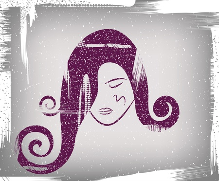 profile: The face of the girl on a dirty background in style grunge Illustration