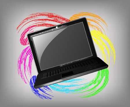 The grunge laptop on a beautiful background Stock Vector - 11657557