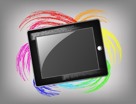 old pc: The grunge tablet on a beautiful background Illustration
