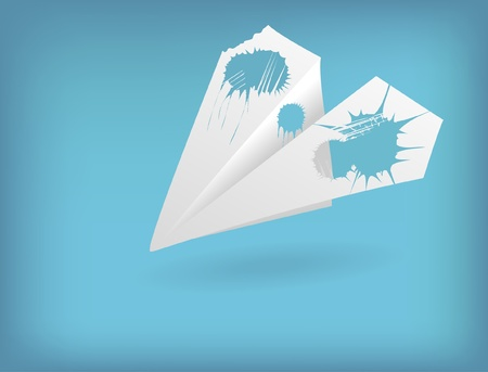 The paper plane with padded wings on a blue background Vector