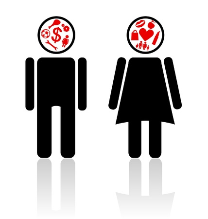 different thinking: Emblems of the man and the girl thinking of different things Illustration