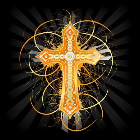 cruz religiosa: Fondo con la cruz de oro adornada con piedras preciosas Vectores