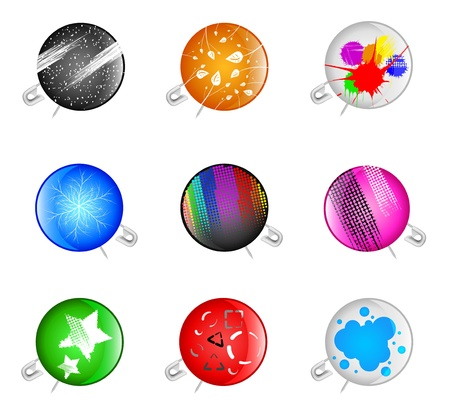 Set of badges with a pin and abstract drawing Stock Vector - 11845195