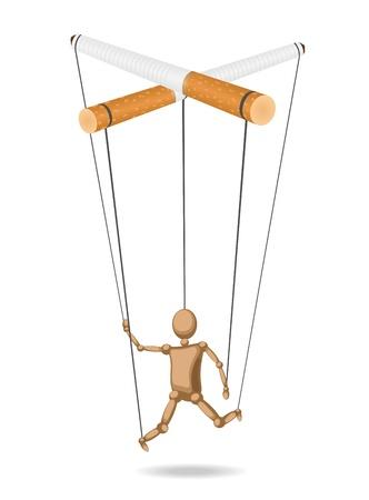 persona fumando: Marionetas suspendido por los cigarrillos (concepto) está aislada del fondo Vectores