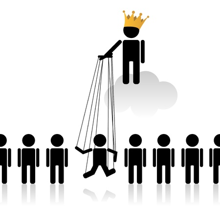 hierarchy: Concept with marionette talking about the status in society Illustration
