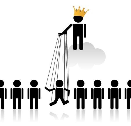 corporate hierarchy: Concetto con marionette a parlare dello stato nella societ�