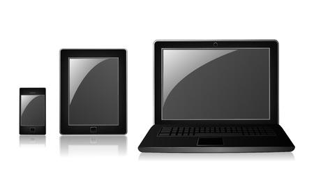 mobil: Telefoon, tablet en laptop op een witte achtergrond