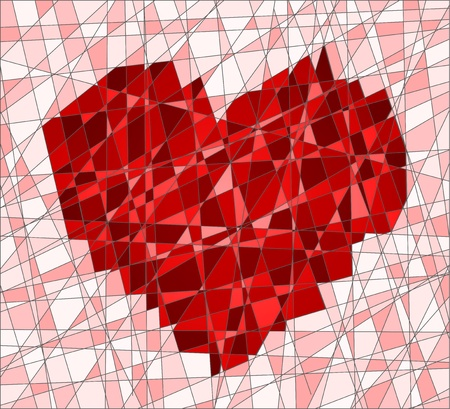 Mosaic decorative ornament with a heart Vector