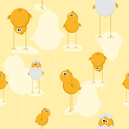 Seamless texture with funny chicks; background for Easter Vector