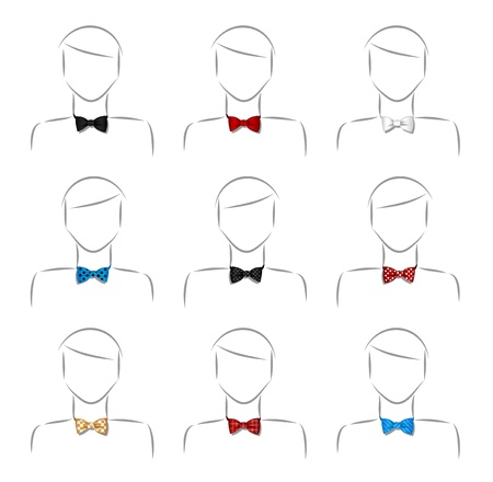 Set of nine different male bow tie Illustration