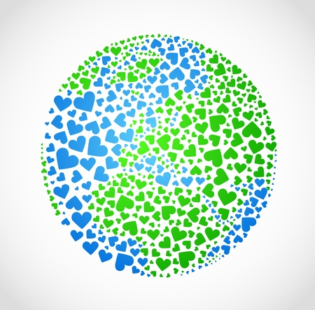 Image of the earth in the form of hearts (the world in love) Vector