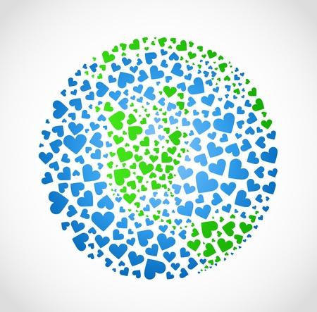 paz mundial: Imagen de la tierra en forma de corazón (el mundo en el amor)