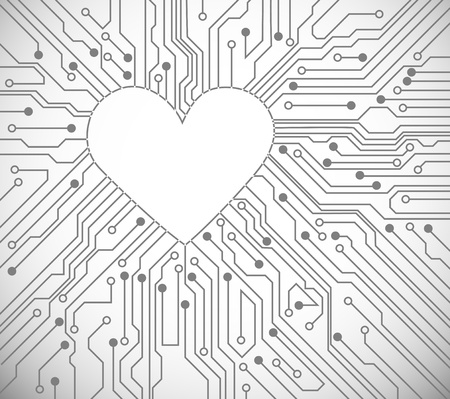 electronic board: Circuit board with in heart shape pattern Illustration