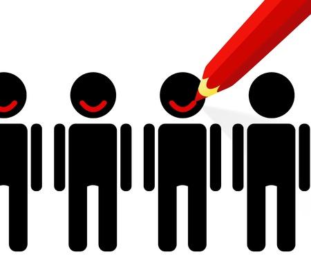 Rode potlood tekent een glimlach op de gezichten van mensen (tevredenheid van klanten)