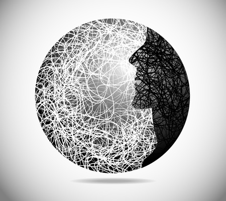 Magic abstract sphere with the face of males Stock Vector - 11845160