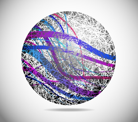 Magic abstract sphere with colorful lines across the Vector