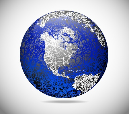 Globe of America with an abstract form of lines Stock Vector - 11845171