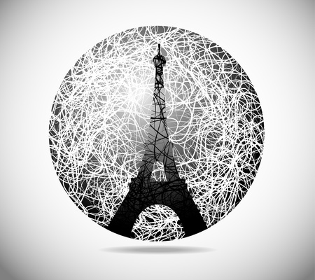 Magic abstract image of a sphere from the Eiffel Tower Vector