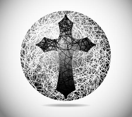 kruzifix: Magische abstrakten Sph�re der feinen Linien mit einem Kreuz Illustration