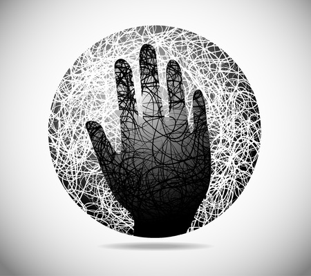 premonition: Magic abstract sphere of fine lines with the palm