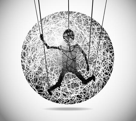marioneta: Esfera mágica abstracta de líneas finas con marionetas