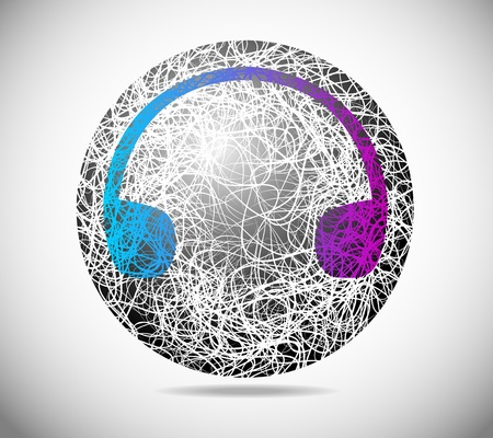 Magic abstract sphere of fine lines with earphones Vector