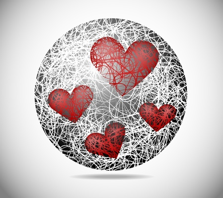 Magic abstract sphere of fine lines with hearts Vector