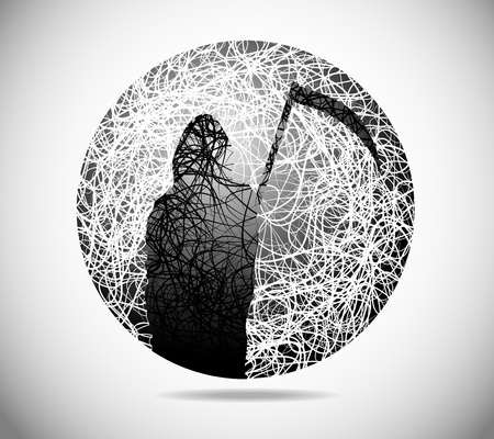 premonition: Magic abstract sphere of fine lines with the death of with a scythe