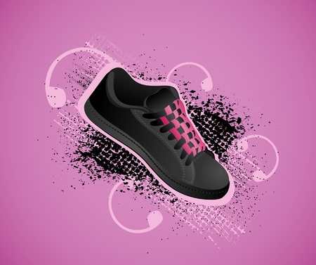Violet background with gym shoes in style grunge Vector