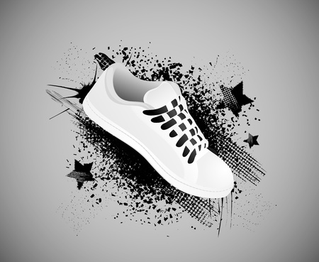 Background with gym shoes in style grunge Vector