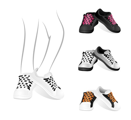 Set isolated stylish of gym shoes Vector