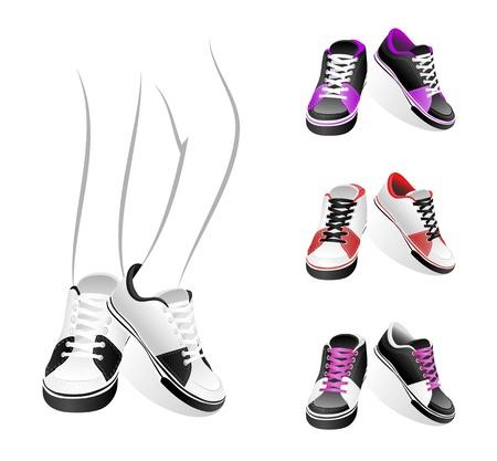 unisex: Conjunto aislado estilo de zapatillas de deporte Vectores
