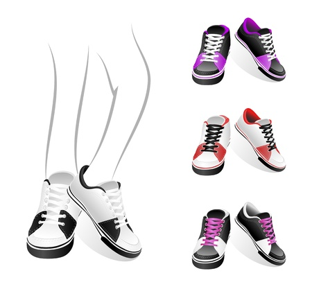 individual sports: Set isolated stylish of sneakers