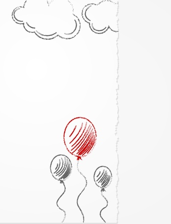 Pencil drawing on paper, balloons and clouds Vector