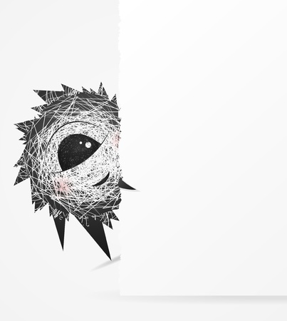 timid: Fluffy are behind the wall, leaving space for your text Illustration